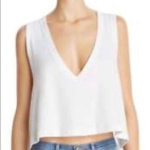 Intimately Free People Deep V Ribbed Cropped Tee